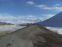 Sary Tash village with the Pamir mountains