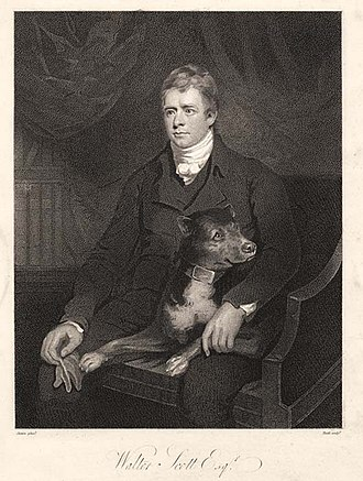 Minstrelsy of the Scottish Border - Engraving of an 1805 portrait of Walter Scott by James Saxon