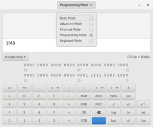 "GNOME Calculator ""Programming mode"""