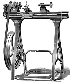 Screw cutting treadle lathe (Brown bros 1912).jpg