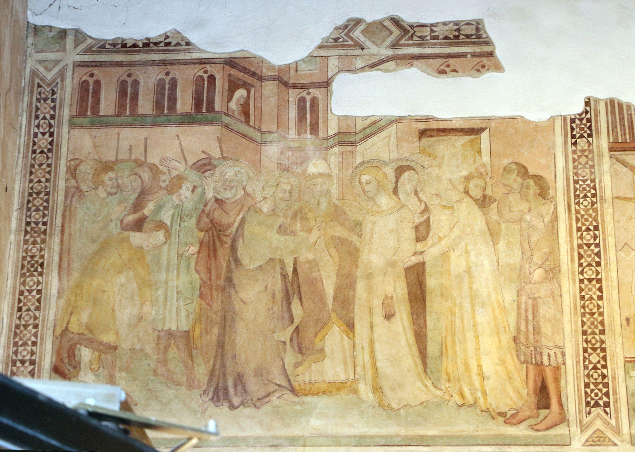 Scuola di bartolo di fredi, scene mariane, 1389, 01 sposalizio della vergine 1