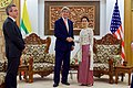 Secretary Kerry Accompanied by U.S. Ambassador to Myanmar Marciel Shakes Hands with Myanmar Foreign Minister San Suu Kyi before a Bilateral Meeting in Naypyitaw (26560488653).jpg