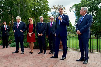 Tufts University - Foreign Ministers Boris Johnson (United Kingdom), Federica Mogherini (European Union), Paolo Gentiloni (Italy), Frank-Walter Steinmeier (Germany) and Jean-Marc Ayrault (France) with U.S. Secretary of State John Kerry speaking at Tufts University, September 2016