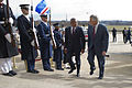 Secretary of Defense Chuck Hagel, right, escorts Cape Verde Prime Minister Jose Maria Neves through an honor cordon and into the Pentagon on March 28, 2013 130328-D-TT977-063.jpg