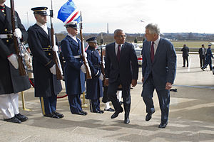 Secretary of Defense Chuck Hagel, right, escorts Cape Verde Prime Minister Jose Maria Neves through an honor cordon and into the Pentagon on March 28, 2013 130328-D-TT977-063