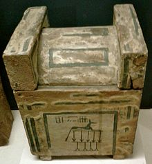 Canopic chest of Sekhemre-Wepmaat Intef, Musee du Louvre. Sekhemre Wepmaat Intef canopic.jpg