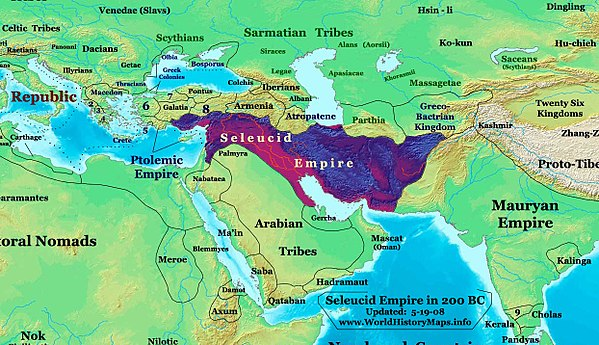 The Seleucid Empire in 200 BC (before expansion into Anatolia and Greece). Seleucid-Empire 200bc.jpg