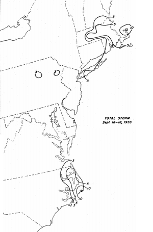 1933 Outer Banks hurricane - Precipitation map associated with the hurricane in the eastern United States