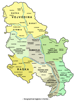 Raška (without northern Montenegro and parts in Kosovo region) and other geographical regions in Serbia