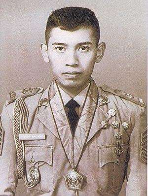 "Susilo Bambang Yudhoyono - Cadet First Sergeant Major (""Sersan Mayor Satu Taruna"") Yudhoyono, 1973."
