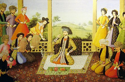 Shah Suleiman I and his courtiers, Isfahan, 1670. Painter is Aliquli Jabbadar, and is kept at The St. Petersburg Institute of Oriental Studies in Russia, ever since it was acquired by Tsar Nicholas II. Note the two Georgian figures with their names at the top left. Shah soleiman safavi.jpg