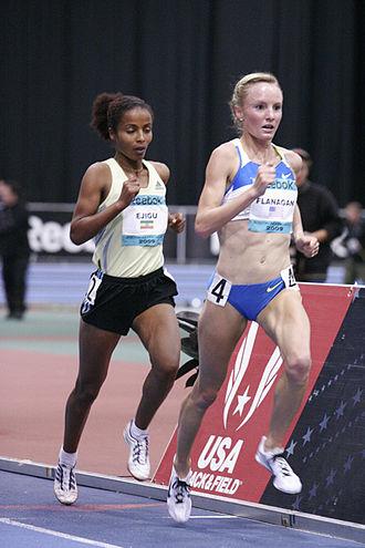 Shalane Flanagan - Flanagan (right) competing in the 2009 Boston Games