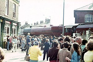 Shildon - Shildon town centre: celebrating 150 years of railway history in 1975