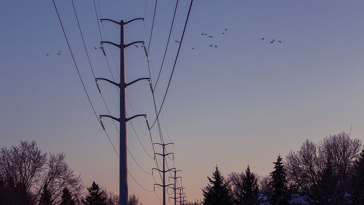 File:Shingle Creek Sunset Power Lines, Brooklyn Center ...