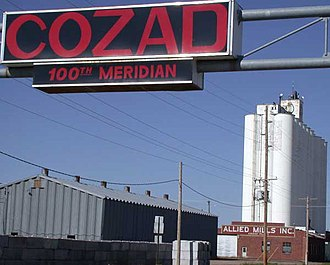 100th meridian west - Sign marking the 100th meridian in Cozad, Nebraska