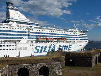 Baltic Sea cruiseferries - MS Silja Symphony passing through the Kustaanmiekka strait outside Helsinki, Finland on its route to Stockholm, Sweden via Mariehamn.