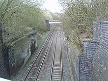 Railway line passes beneath the brick abutments of a wide bridge. The span of the bridge is missing, and the tops of the remaining parts of the bridge are overgrown with trees.