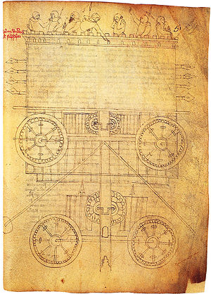 Guido da Vigevano - Guido da Vigevanos sketch of a crank wagon, Bibliothèque Nationale de France, Paris