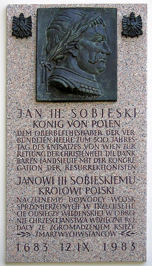 Kahlenberg - Commemorative plaque placed on the facade of the Polish church on Kahlenberg