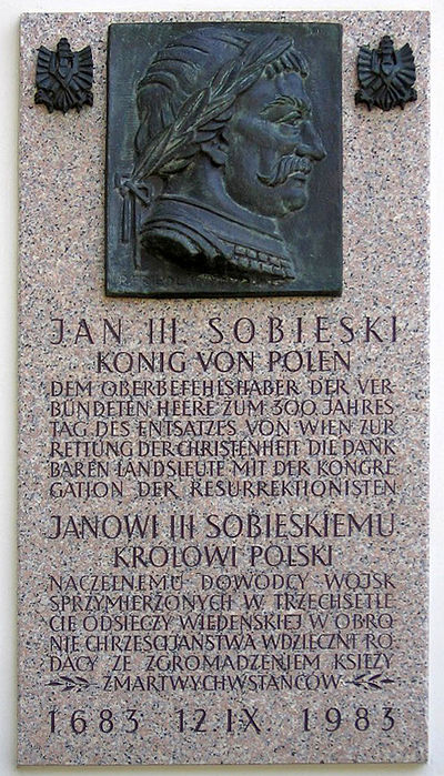 Plaque at the Polish Congregatio Resurrectionis church on Kahlenberg - Battle of Vienna
