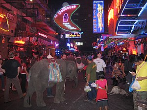 Soi Cowboy at night, with elephant