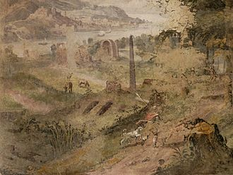 Antonio Viviani - Man, Dog, Landscape by Antonio Viviani, fresco on loggia of Palazzo Altemps, Rome