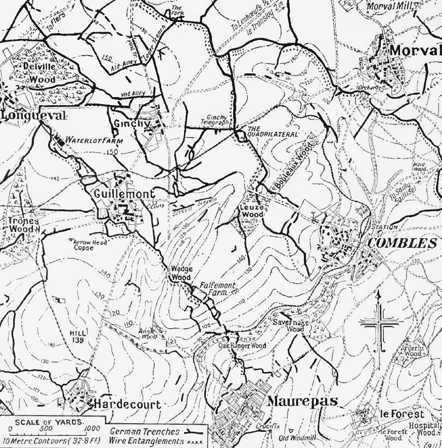 Somme area from Longueval to Combles, 1916