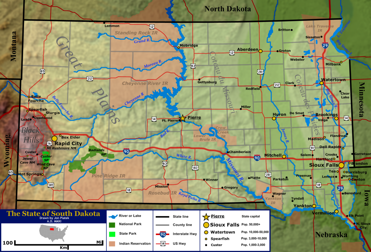 Geography Of South Dakota Wikipedia - Us map mountains and rivers