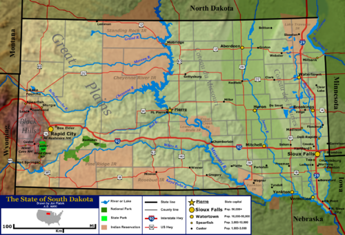 Terrain and primary geographic features of South Dakota South Dakota general map 2.png