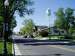 South Whitley, State Street and water tower