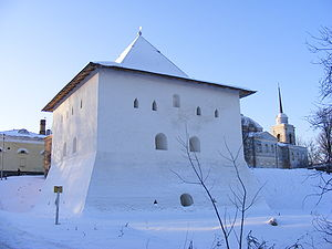 Vyazma - Spasskaya tower is the only tower left of the medieval Vyazma Kremlin.