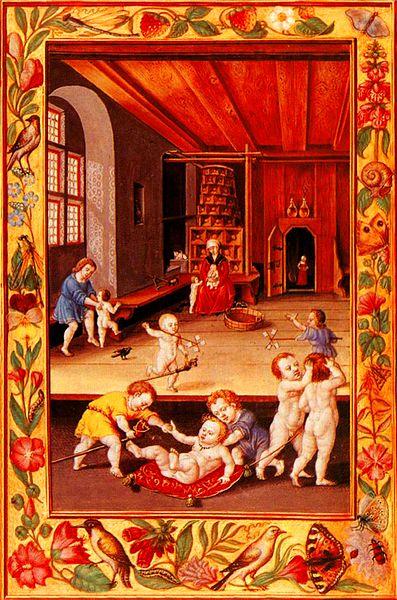Spielende Kinder. Buchmalerei aus dem alchemistischen Manuskript Splendor Solis (zwischen 1532 und 1535).