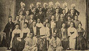 Anagarika Dharmapala - Anagarika Dharmapala (seated-centre) at the Mahabodhi Society Headquarters in Calcutta.
