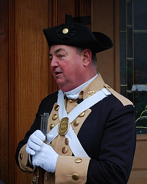 Evacuation Day (Massachusetts) - A Revolutionary War reenactor at Boston's 2008 St. Patrick's Day parade