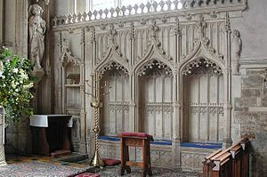 Adderbury - Gothic piscina and sedilia in the chancel of St Mary's parish church