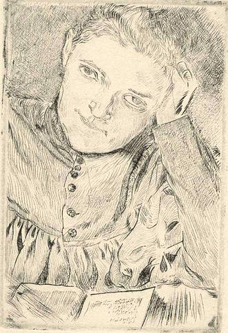 Drypoint - Stanisław Masłowski, ca 1905, Portrait of Artist's Wife, drypoint, 11.5x7.7 cm, National Museum in Warsaw