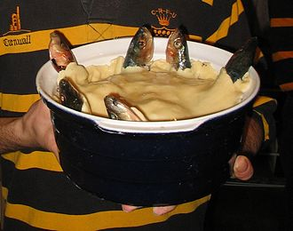 Stargazy pie - Stargazy pie, with sardines looking skywards before it is baked in the oven