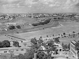 Victoria Park, Brisbane - View from Herston to Brisbane CBD across Victoria Park, looking south, circa 1936