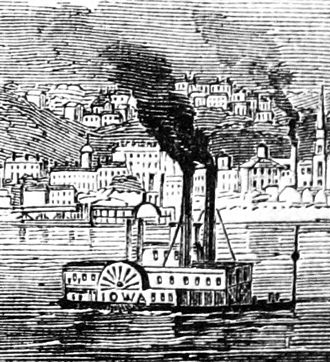 Seal of Iowa - Steamboat Iowa chuffing up the Mississippi through Dubuque, Iowa, ca. 1865.