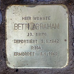 Photo of Betti Abraham brass plaque