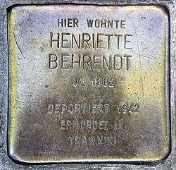 Photo of Henriette Behrendt brass plaque