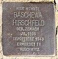 Stolperstein Hewaldstr 9 (Schöb) Baschewa Hirschfeld.jpg