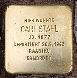 Photo of Carl Stahl brass plaque