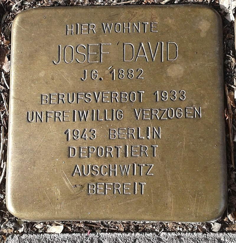 Stolperstein für Josef David (Dünnwalder Straße 25)