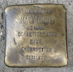 Photo of Mary (Marie) Gruft brass plaque