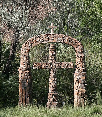Santa Fe County, New Mexico - Stone arch and cross, El Santuario de Chimayó