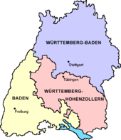 The three states that merged to form Baden-Württemberg in 1952.