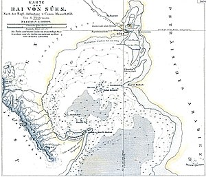 Gulf of Suez - Northernmost part of Gulf of Suez with town Suez on the map of 1856