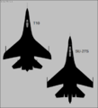 Sukhoi T-10 and Su-27S top-view silhouettes.png
