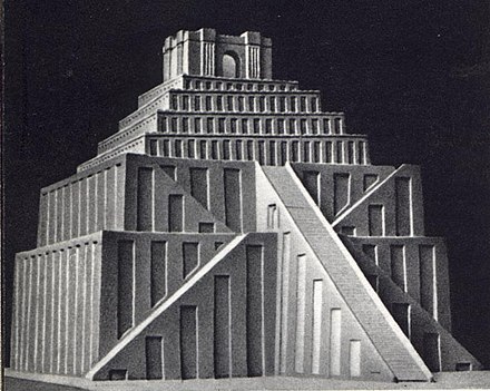 A suggested reconstruction of the appearance of a Sumerian ziggurat SumerianZiggurat.jpg